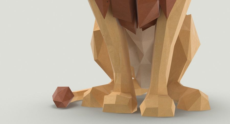 Lion Sitting royalty-free 3d model - Preview no. 12