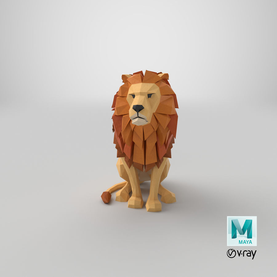 Lion Sitting royalty-free 3d model - Preview no. 21