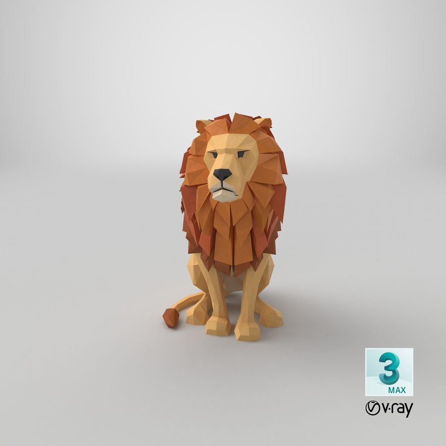 Lion Sitting royalty-free 3d model - Preview no. 23
