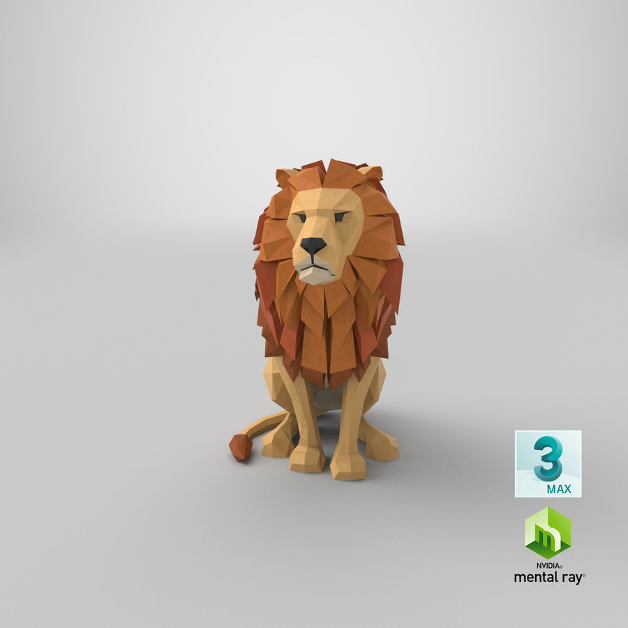 Lion Sitting royalty-free 3d model - Preview no. 24