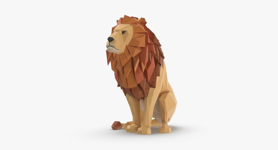 Lion Sitting royalty-free 3d model - Preview no. 2