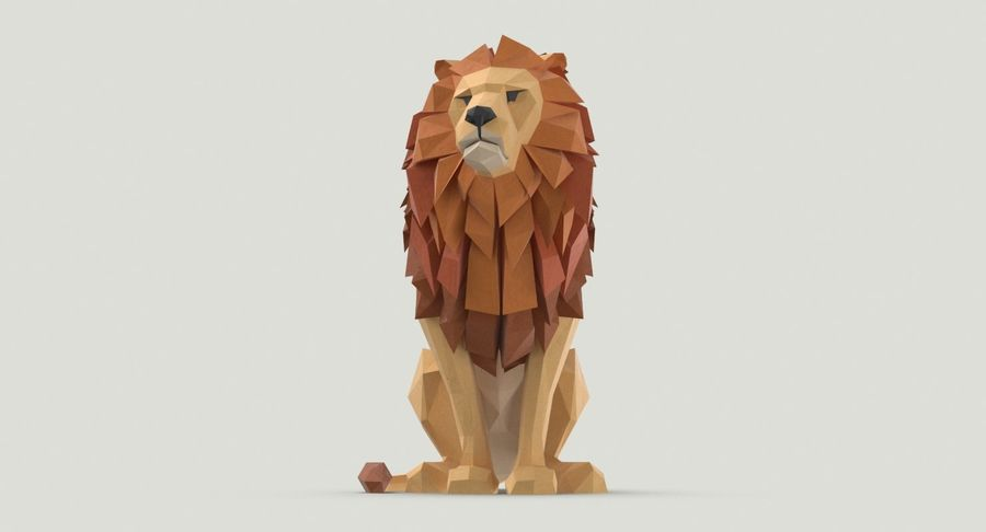 Lion Sitting royalty-free 3d model - Preview no. 7