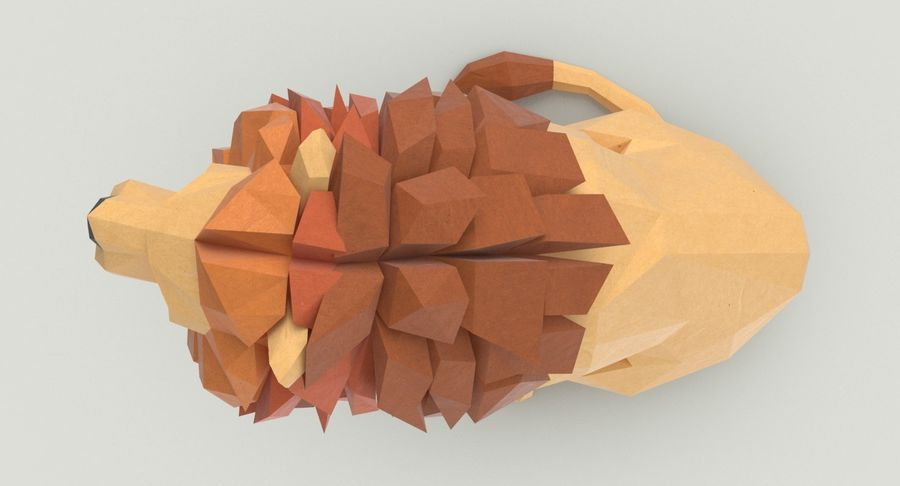Lion Sitting royalty-free 3d model - Preview no. 5