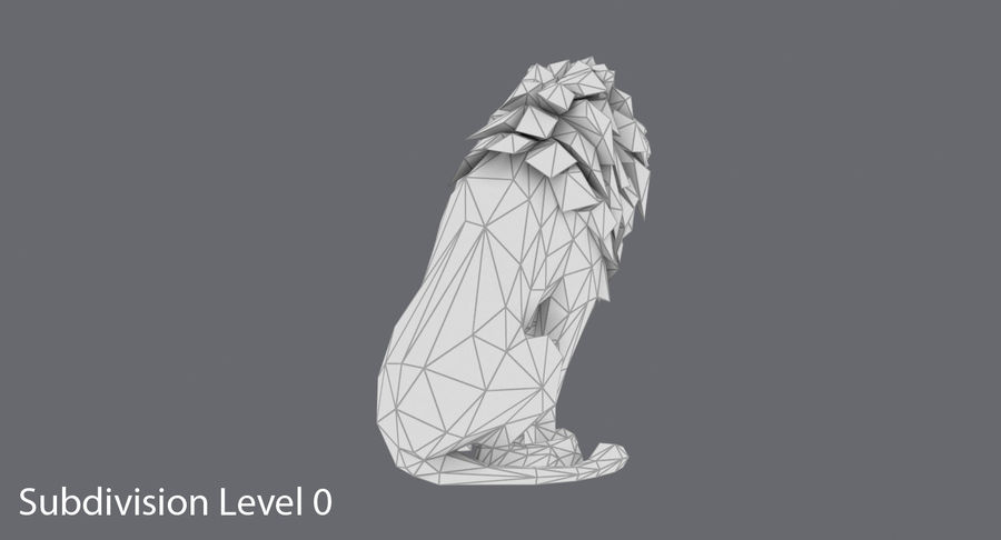 Lion Sitting royalty-free 3d model - Preview no. 16