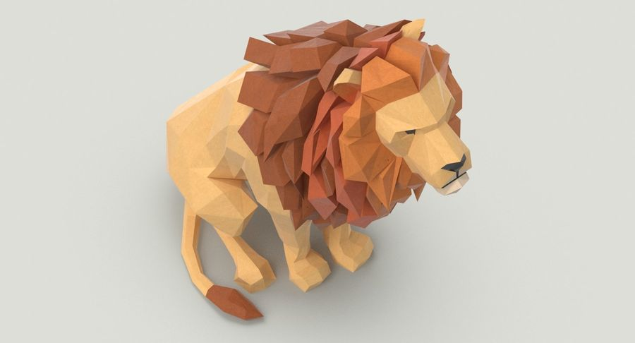 Lion Sitting royalty-free 3d model - Preview no. 4