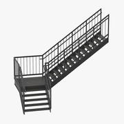 Exterior Staircase L-Shape 3d model