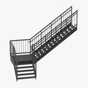 외부 계단 L 자형 3d model