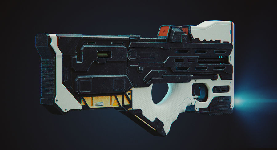 Sci-fi Gun royalty-free 3d model - Preview no. 3