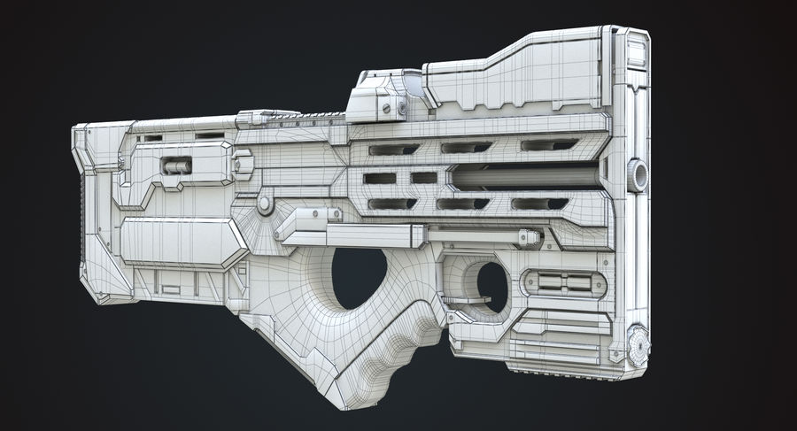 Sci-fi Gun royalty-free 3d model - Preview no. 7