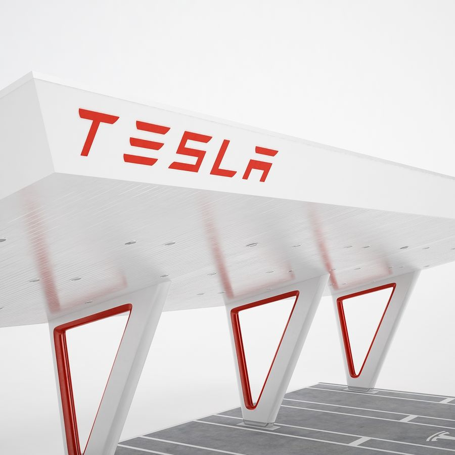 Tesla Supercharger 03 royalty-free 3d model - Preview no. 19