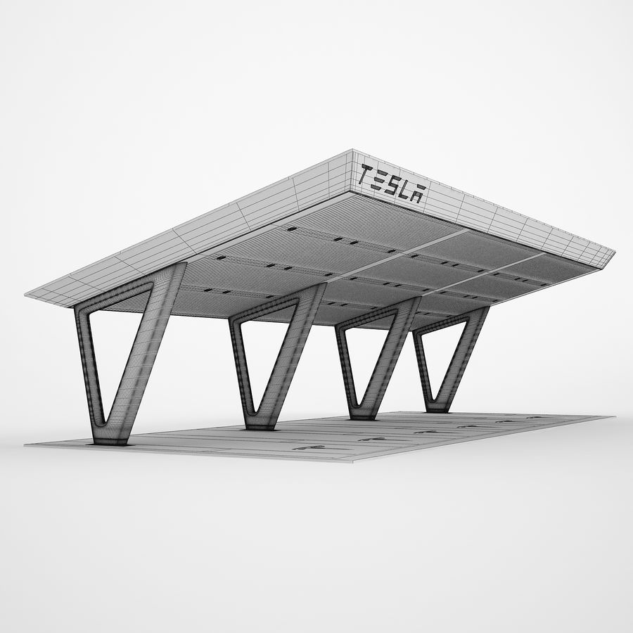 Tesla Supercharger 03 royalty-free 3d model - Preview no. 3