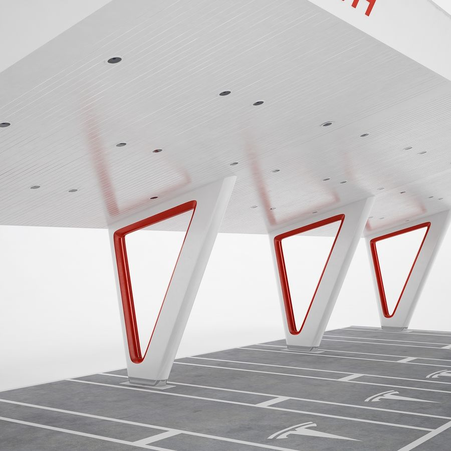 Tesla Supercharger 03 royalty-free 3d model - Preview no. 17