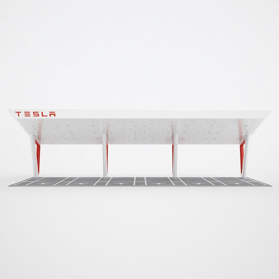 Tesla Supercharger 03 royalty-free 3d model - Preview no. 5
