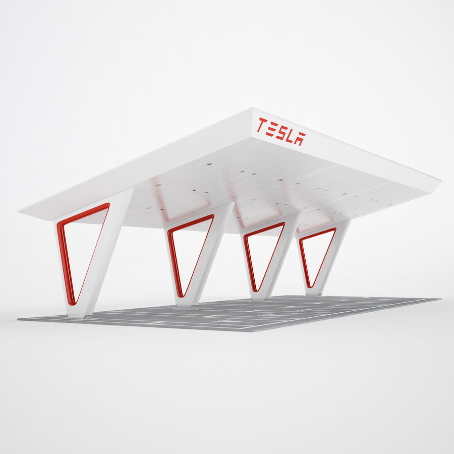 Tesla Supercharger 03 royalty-free 3d model - Preview no. 2