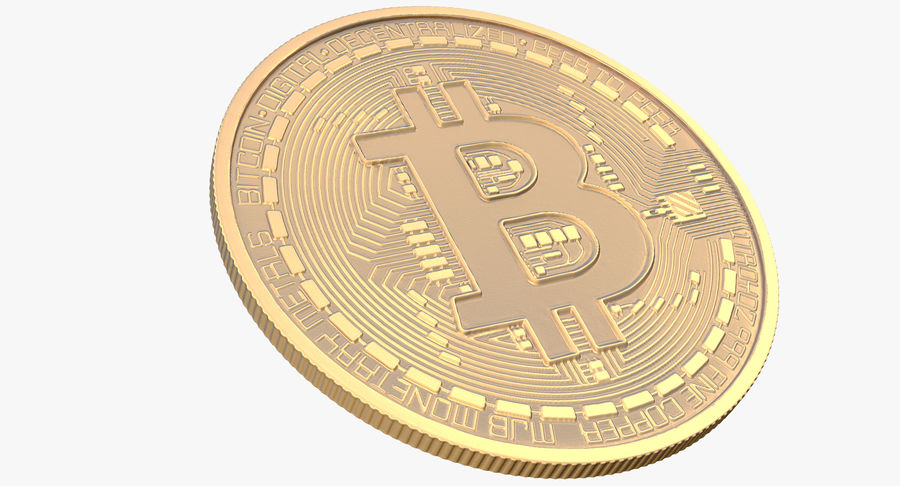Gold-Bitcoin-Münze royalty-free 3d model - Preview no. 5