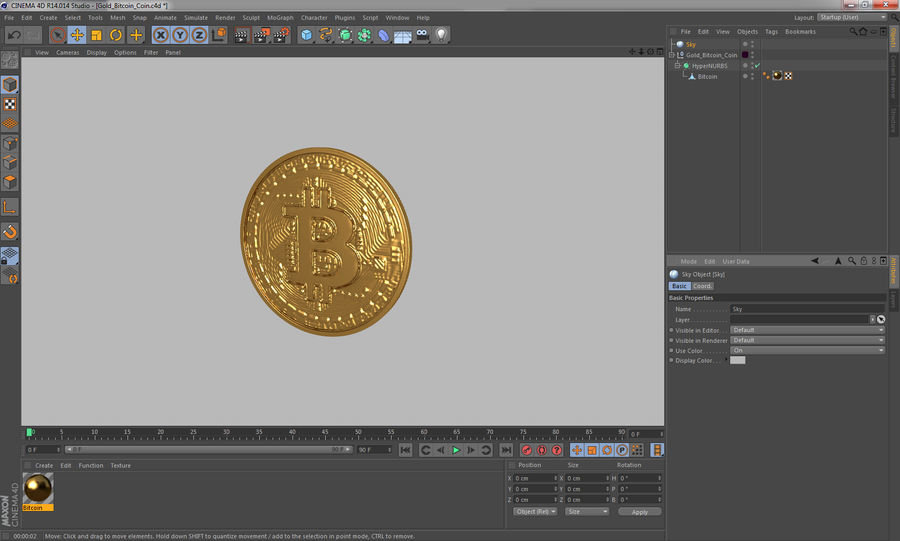 Gold-Bitcoin-Münze royalty-free 3d model - Preview no. 12