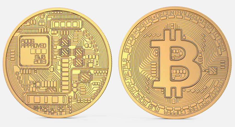 Gold-Bitcoin-Münze royalty-free 3d model - Preview no. 4