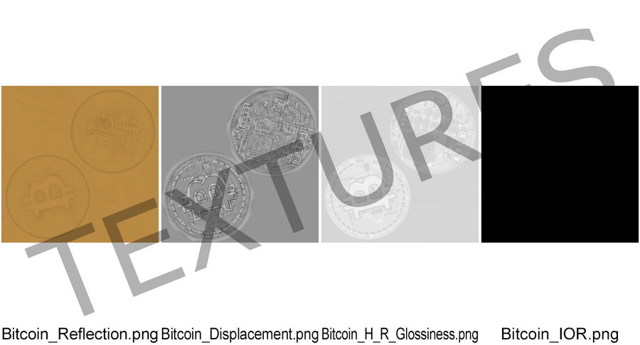 Gold-Bitcoin-Münze royalty-free 3d model - Preview no. 10