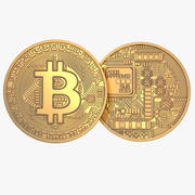 Gold-Bitcoin-Münze 3d model