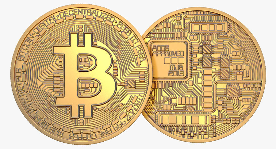 Gold-Bitcoin-Münze royalty-free 3d model - Preview no. 2