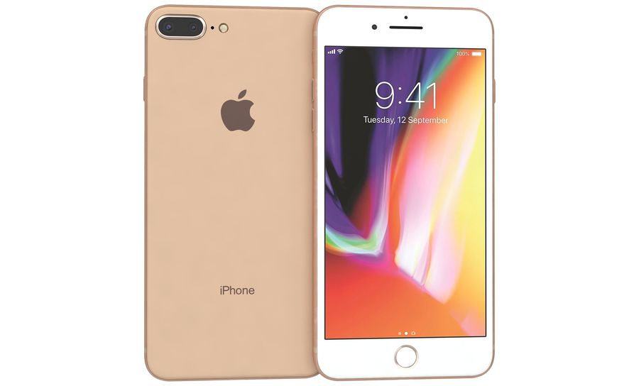 Apple iPhone 8 Plus Gold royalty-free 3d model - Preview no. 6