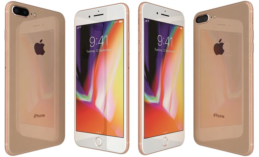 Apple iPhone 8 Plus Gold royalty-free 3d model - Preview no. 1