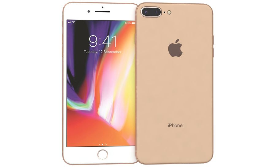 Apple iPhone 8 Plus Gold royalty-free 3d model - Preview no. 7