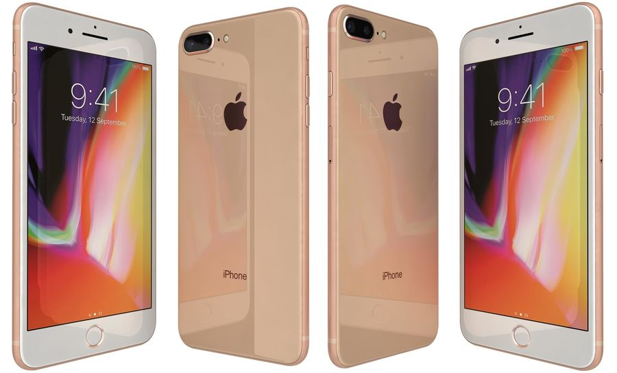 Apple iPhone 8 Plus Gold royalty-free 3d model - Preview no. 4