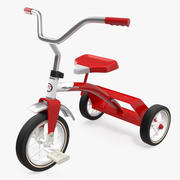 复古红三轮车 3d model