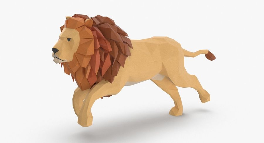 Lion Running royalty-free 3d model - Preview no. 2