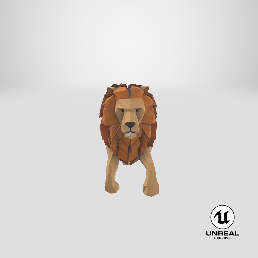 Lion Running royalty-free 3d model - Preview no. 25