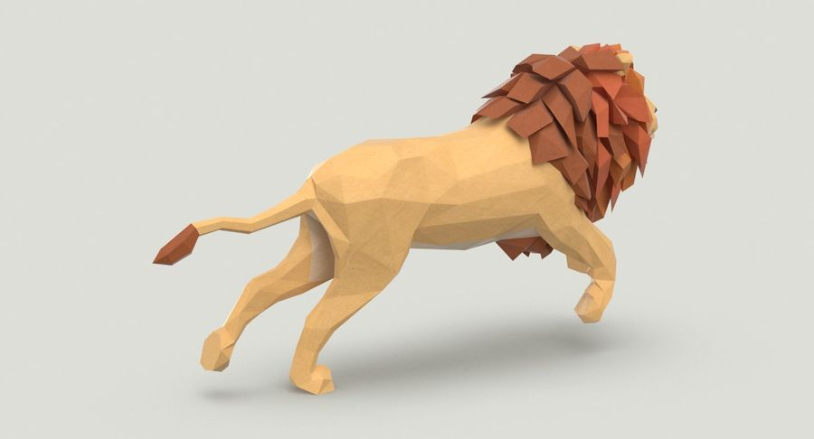 Lion Running royalty-free 3d model - Preview no. 6