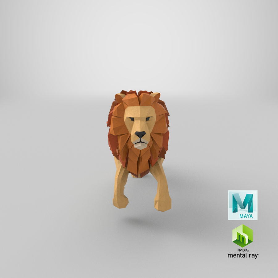 Lion Running royalty-free 3d model - Preview no. 21