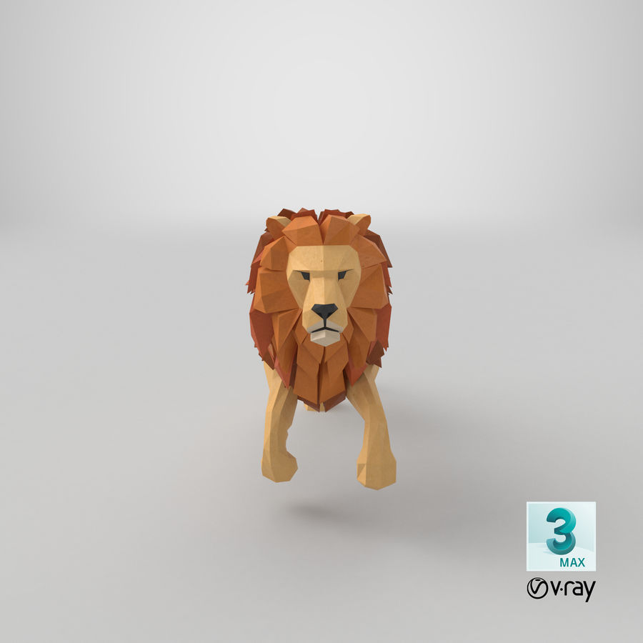 Lion Running royalty-free 3d model - Preview no. 22