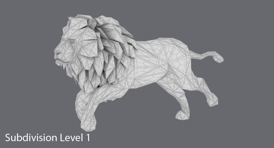 Lion Running royalty-free 3d model - Preview no. 16