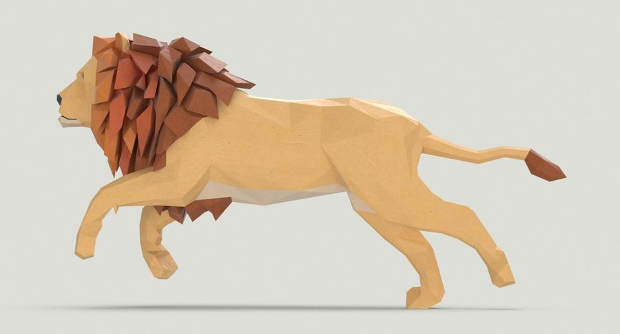 Lion Running royalty-free 3d model - Preview no. 8