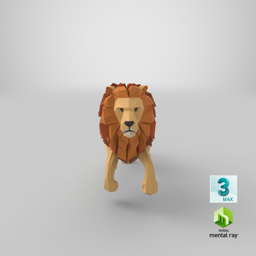 Lion Running royalty-free 3d model - Preview no. 23