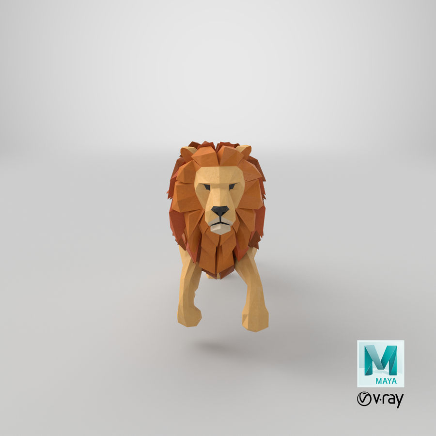 Lion Running royalty-free 3d model - Preview no. 20