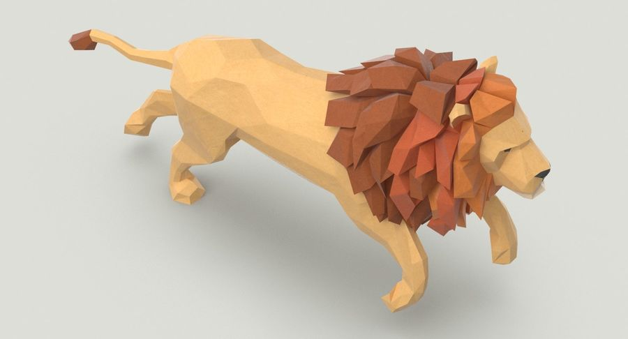 Lion Running royalty-free 3d model - Preview no. 4