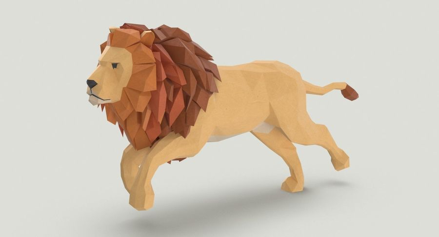 Lion Running royalty-free 3d model - Preview no. 3