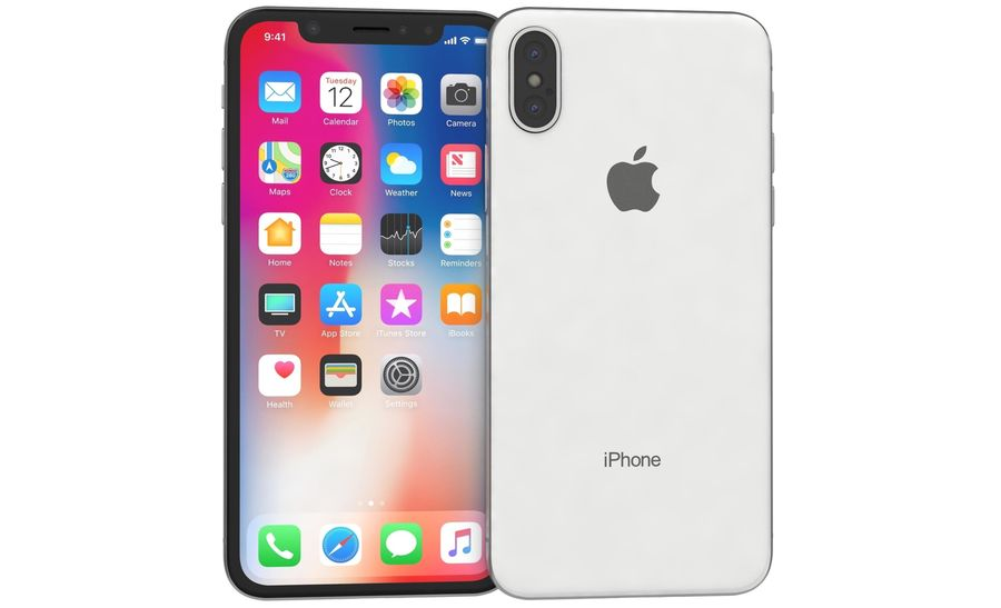 Apple iPhone X Silver royalty-free modelo 3d - Preview no. 8