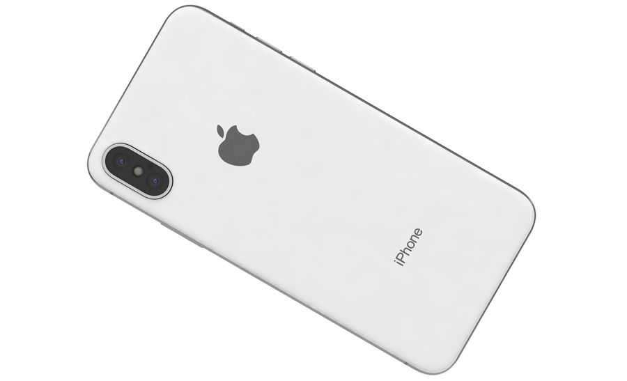 Apple iPhone X Silver royalty-free modelo 3d - Preview no. 13
