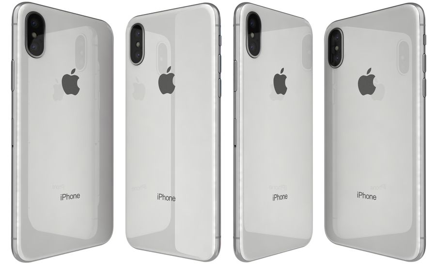 Apple iPhone X Silver royalty-free modelo 3d - Preview no. 4