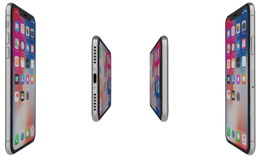 Apple iPhone X Silver royalty-free modelo 3d - Preview no. 11