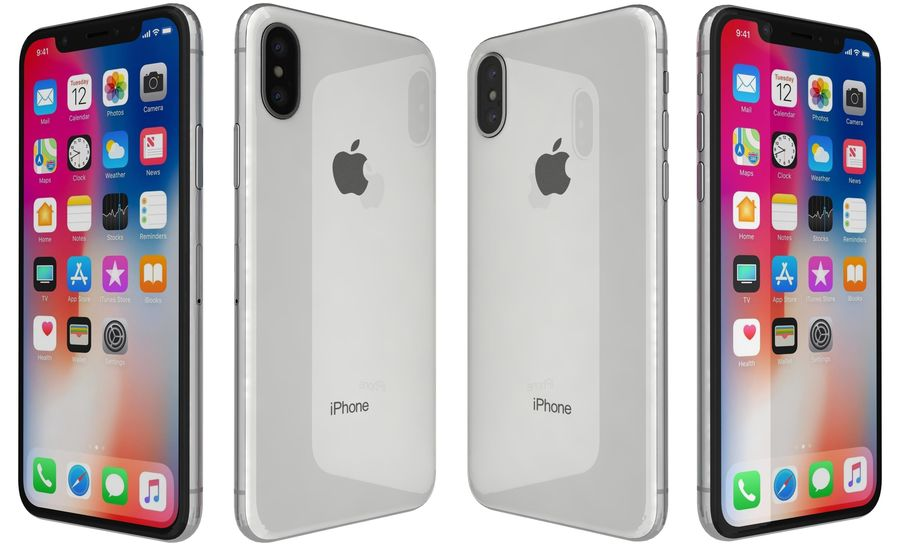 Apple iPhone X Silver royalty-free 3d model - Preview no. 5