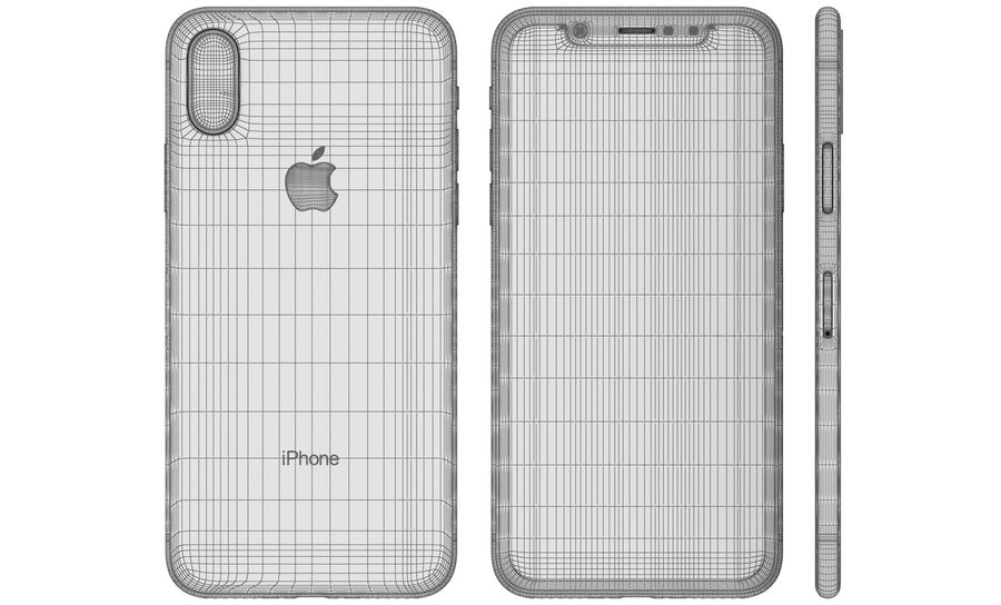 Apple iPhone X Silver royalty-free 3d model - Preview no. 22