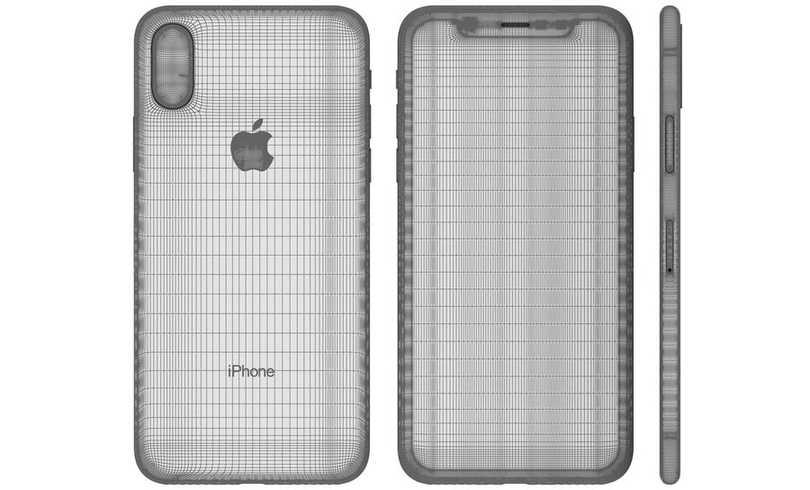Apple iPhone X Silver royalty-free 3d model - Preview no. 23