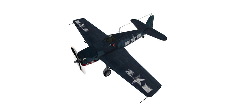F6F_Hellcat Fighter royalty-free 3d model - Preview no. 3