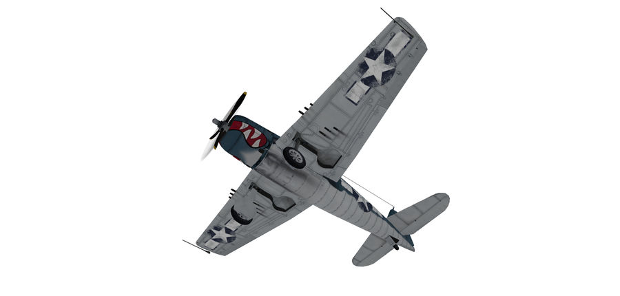 F6F_Hellcat Fighter royalty-free 3d model - Preview no. 7
