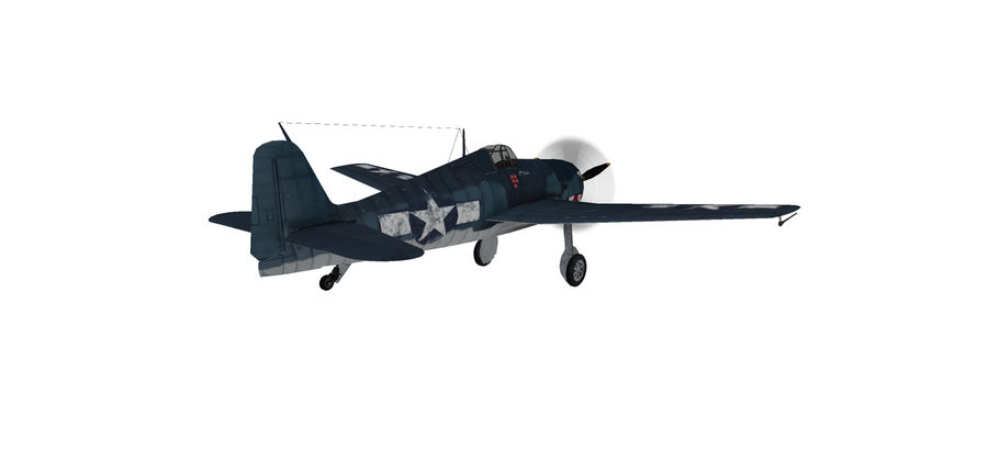 F6F_Hellcat Fighter royalty-free 3d model - Preview no. 4